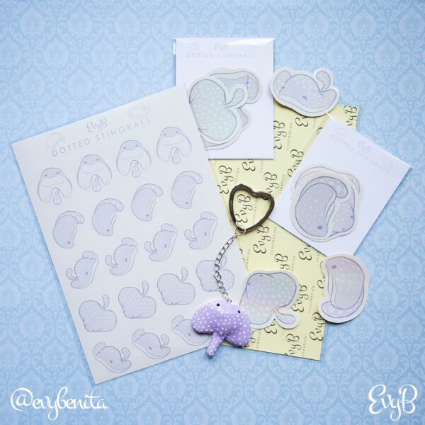 Dotted Stingray planner stickers for summer planners and travel journals.