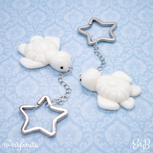 White Glitter Sea Turtle Charms by EvyB