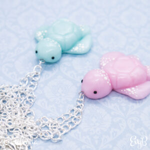 Shimmering Pink and Blue Kawaii Sea Turtle Charms by EvyB