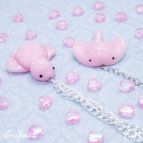 Shimmering rose quarts sea turtle and stingray polymer clay charms by EvyB.