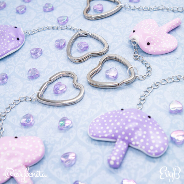 Pastel pink and purple kawaii stingray charms with polkadots. Charms by EvyB