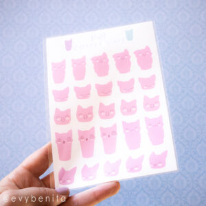 A sheet of pink stickers depicting travel mug-shapes with cat ears and kawaii cat faces. Perfect for planning early morning work hours or school sessions.