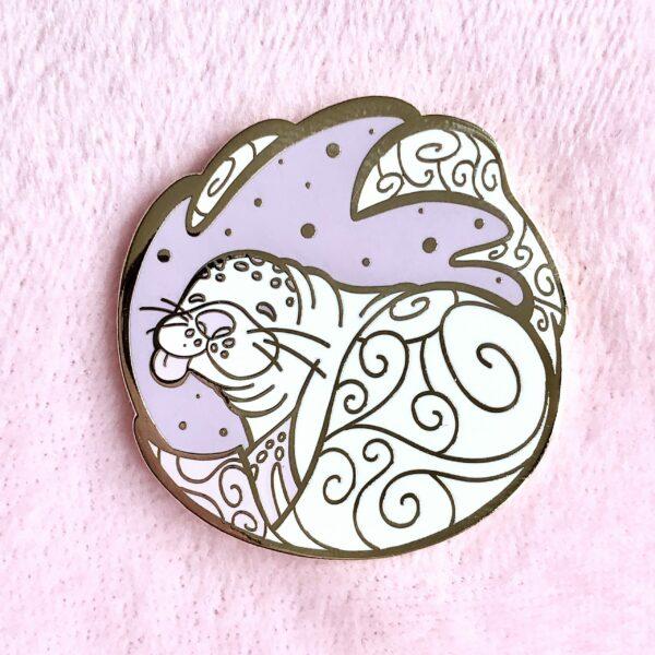 Gold-plated Hawaiian monk seal enamel pin by Evy Benita
