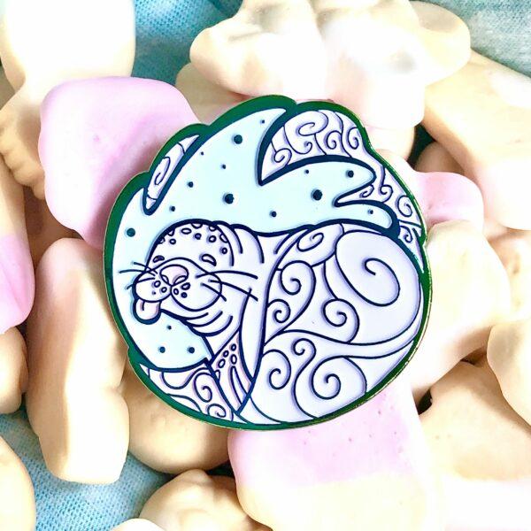 Hawaiian Monk Seal enamel pin in rainbow metal, by EvyB