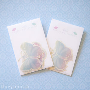 Handpainted pastel butterflies pastel stickers by EvyB.