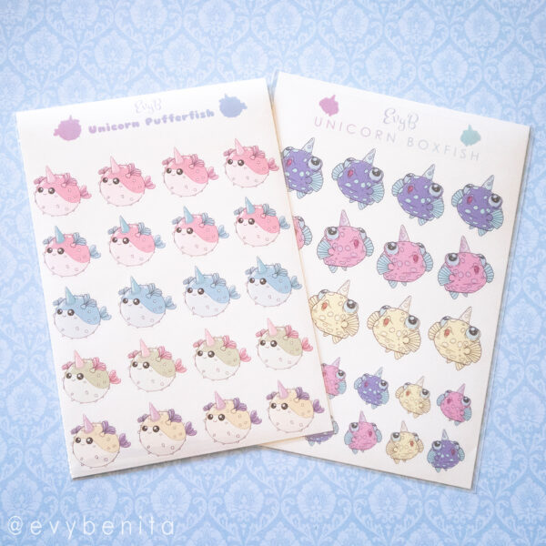 Kawaii unicorn boxfish and pufferfish sticker sheets for planners.