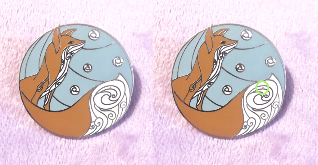 A beautiful red fox enamel pin decorated in swirly patterns, backed by a circular winter background.