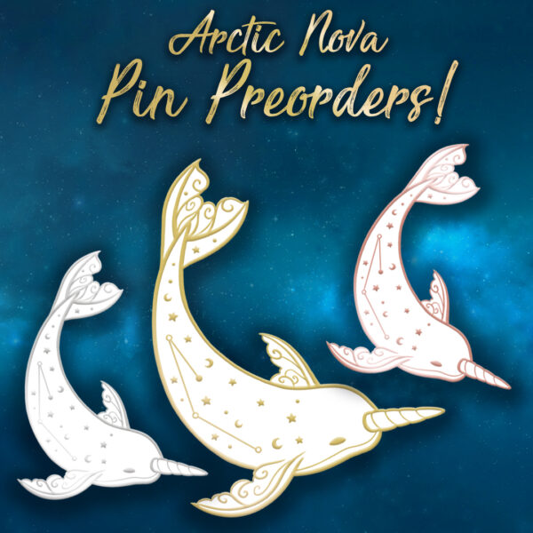 A visual for three planned narwhal enamel pins: the same design but in different platings: gold, rose gold and glitter
