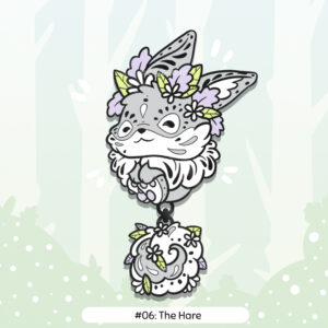 Mockup visual of the product: showing how the two enamel pieces are connected with a chain from the bottom of the body to the top of the fluffy dangle tail.