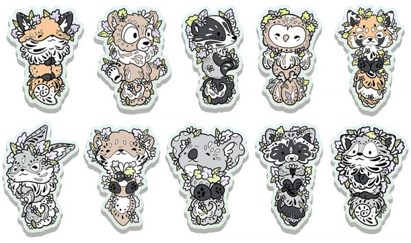A collection of ten glossy stickers of woodland creatures.