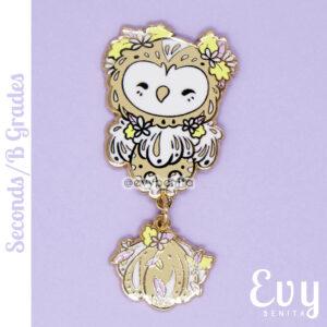 Owl dangle pin in hard enamel