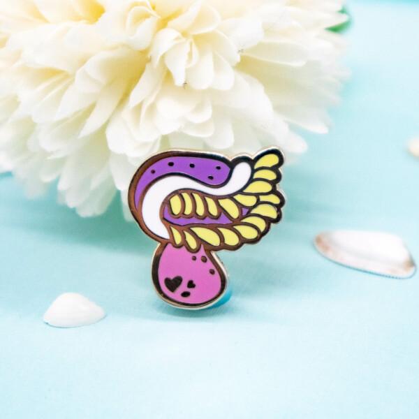 Cute pink sea anemone enamel pin by Evy Benita