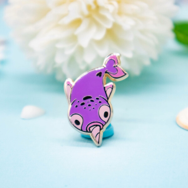 Cute pink kawaii narwhal hard enamel pin by Evy Benita