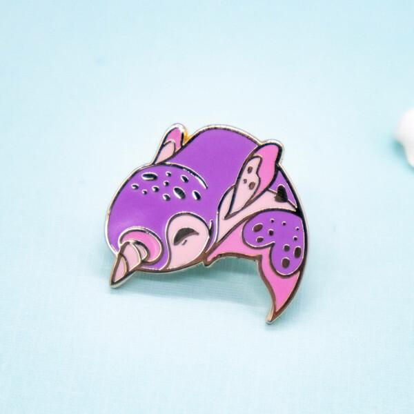 Happy pink kawaii narwhal hard enamel pin by Evy Benita