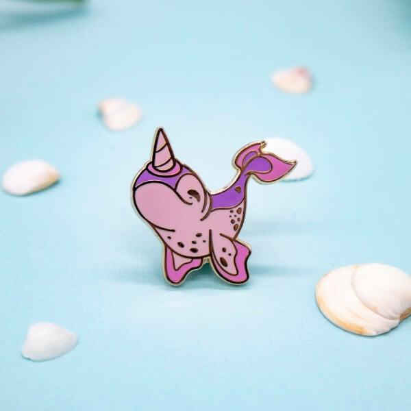 Cute pastel chibi narwhal hard enamel pin by Evy Benita