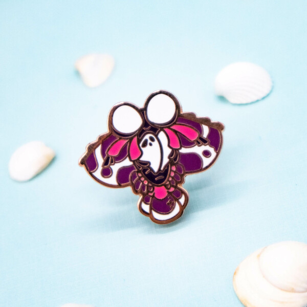 Cute harlequin shrimp hard enamel pin by Evy Benita