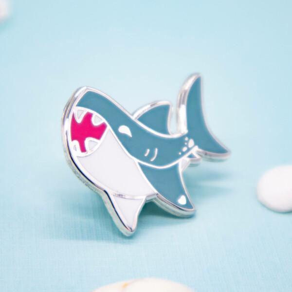 Happy Chibi Great White Shark hard enamel pin by Evy Benita