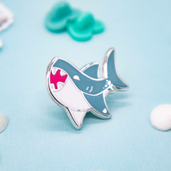 Cute Kawaii Great White Shark hard enamel pin by Evy Benita
