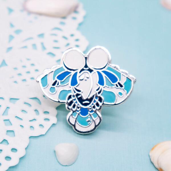 Silver plated harlequin shrimp enamel pin by Evy Benita