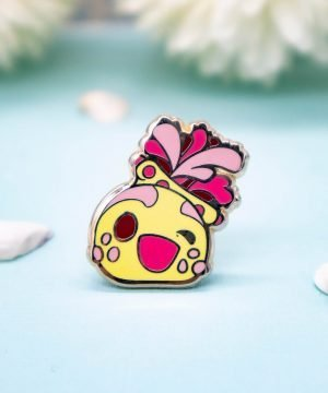 "An adorable kawaii style ""sea apple"" hard enamel pin with gold plating - by Evy Benita"