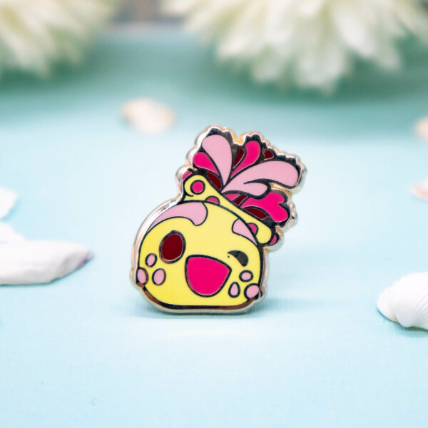 "An adorable kawaii style ""sea apple"" hard enamel pin with gold plating - by Evy Benita"
