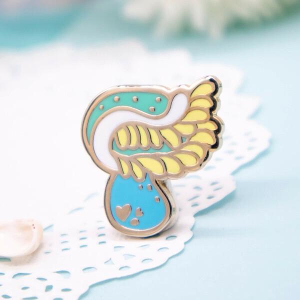 Blue Venus flytrap sea anemone hard enamel pin by Evy Benita
