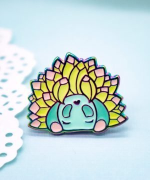 Cute rainbow moss piglet sea slug enamel pin by Evy Benita