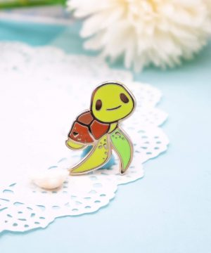 Gold plated green sea turtle hard enamel pin by Evy Benita