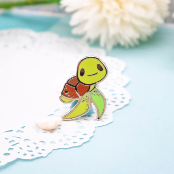 Gold plated green sea turtle hard enamel pin by Evy Benita