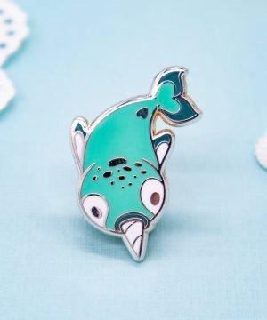 Cute chibi narwhale hard enamel pin by Evy Benita