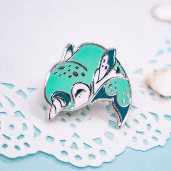 Teal narwhal hard enamel pin by Evy Benita