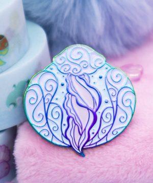 Colorful rainbow metal jellyfish enamel pin by Evy Benita
