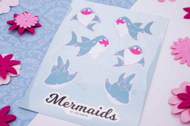 Great white shark sticker sheet in eco-friendly paper