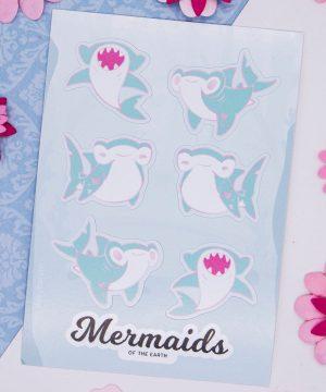 Hammerhead shark sticker sheet in eco-friendly paper