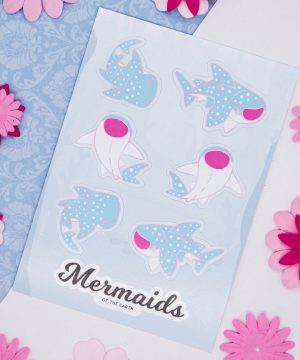 Whale shark sticker sheet in eco-friendly paper