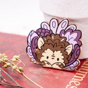 Rose gold-plated hedgehog enamel pin
