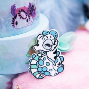 Pygmy seahorse enamel pin with silver plating