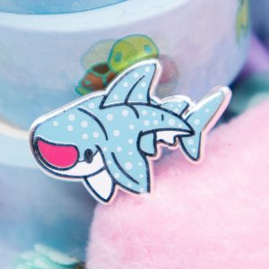 Cute wshark enamel pin with screen-printed details.