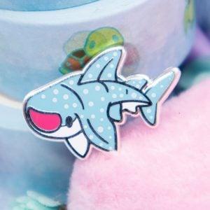 Cute wshark enamel pin with screen-printed details.