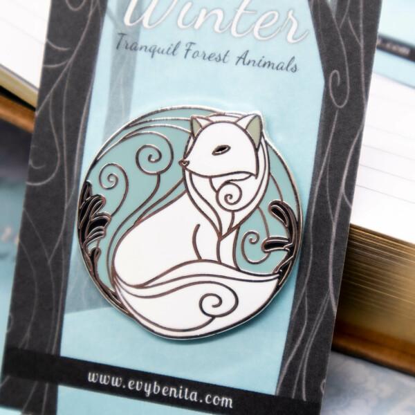 Arctic fox hard enamel pin