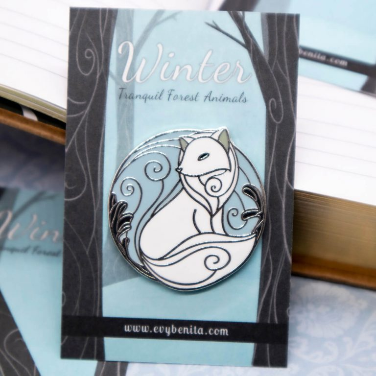 Arctic fox hard enamel pin
