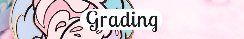 "Header for Evy Benita's enamel pin grade system. Text reads ""grading""."