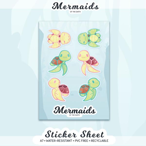 An A7 sticker sheet featuring six adorable sea turtles in a kawaii art style.