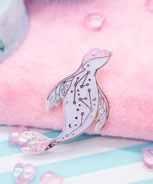 Leopard Seal enamel pin in pink glitter