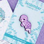 Cute seal wooden pin badge by Evy Benita