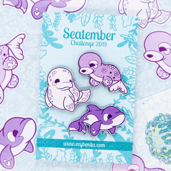 Cute set of illustrated chibi sea creature pin badges by Evy Benita