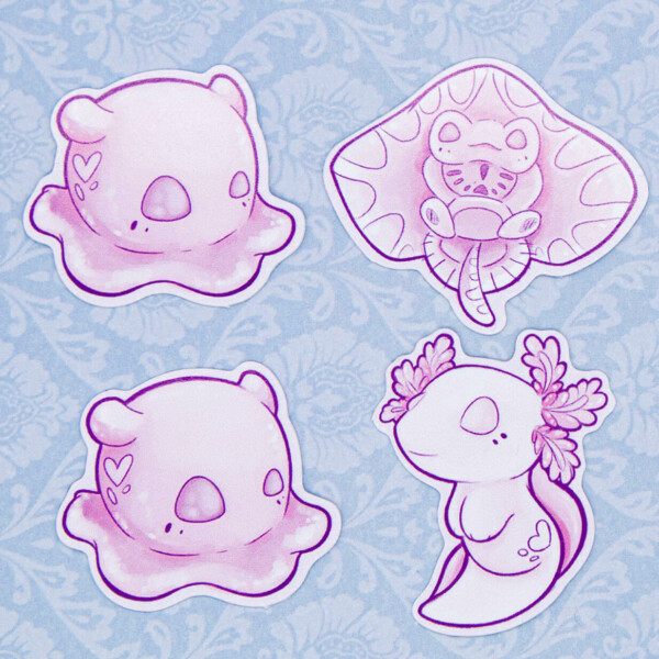 Pink waterproof sea creature stickers by Evy Benita - Featuring the Dumbo Octopus, a baby Stingray and a White Albino Axolotl