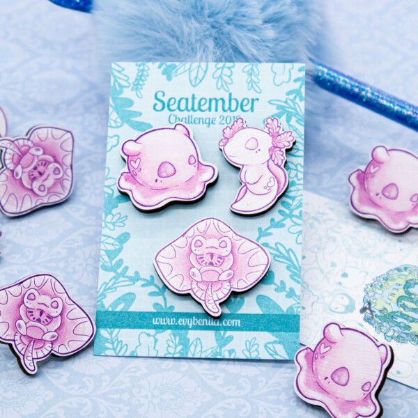Cute pink set of illustrated chibi sea creature pin badges by Evy Benita