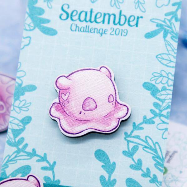 Cute pink Dumbo octopus chibi pin badge by Evy Benita