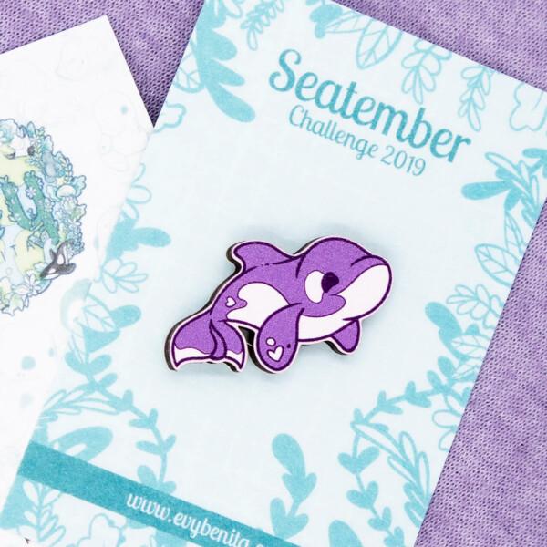 Cute killer whale pin badge by Evy Benita